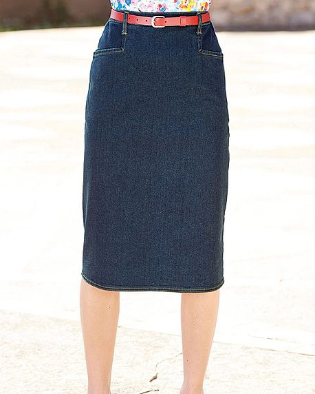 Denim straight Skirt in sizes 10-24 Machine washable.