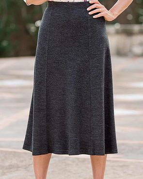Wool Blend Pull on Skirts - Charcoal