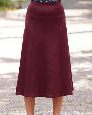 Wool Blend Pull on Skirts - Claret