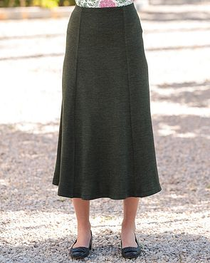 Wool Blend Pull on Skirts - Moss Green