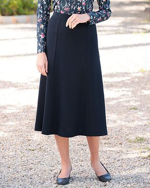 Wool Blend Pull on Skirts - Navy