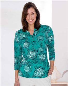 TIGI Atlantis Floral Button Neck Top
