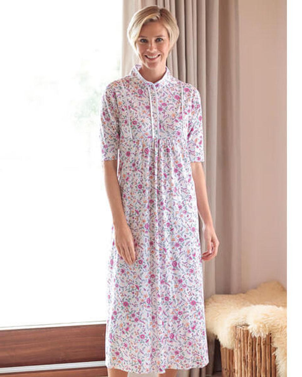 Ladies pure silky cotton jersey nightdress. Machine wash. Sizes S-XL. 56d466302