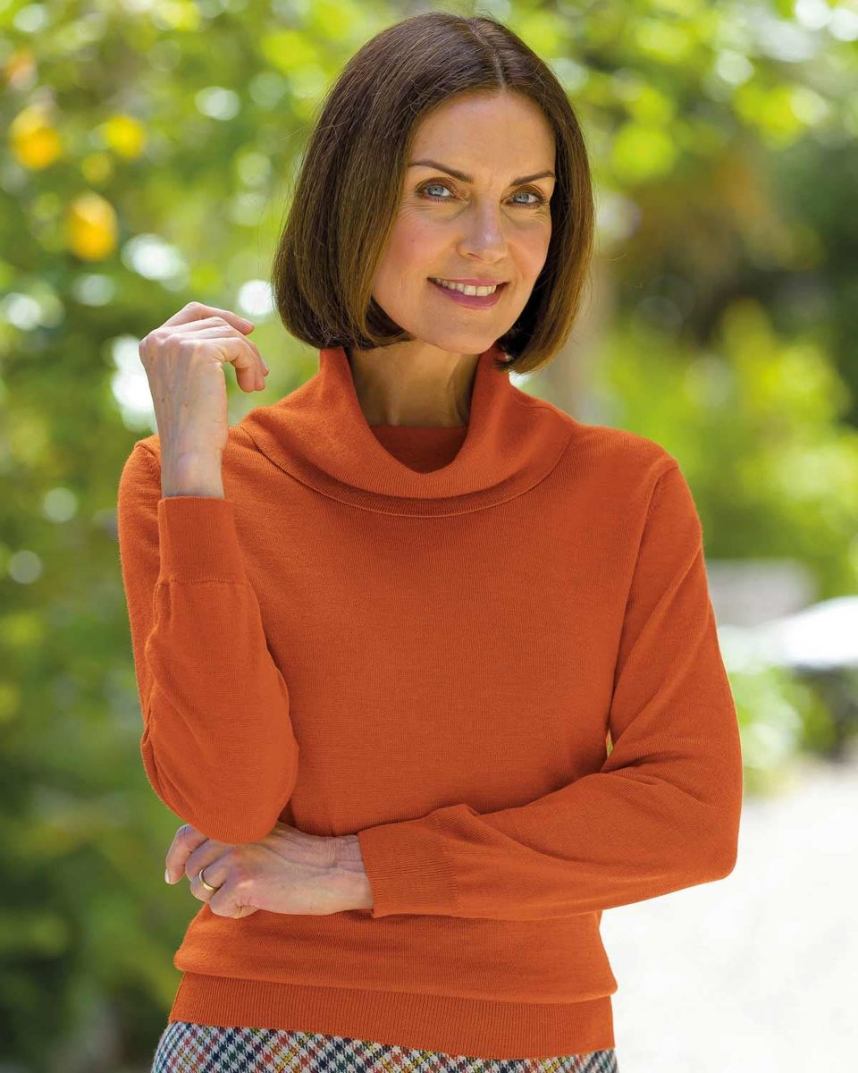 Ladies Cowl Neck Merino Wool Knitted Sweater In 4 Colours