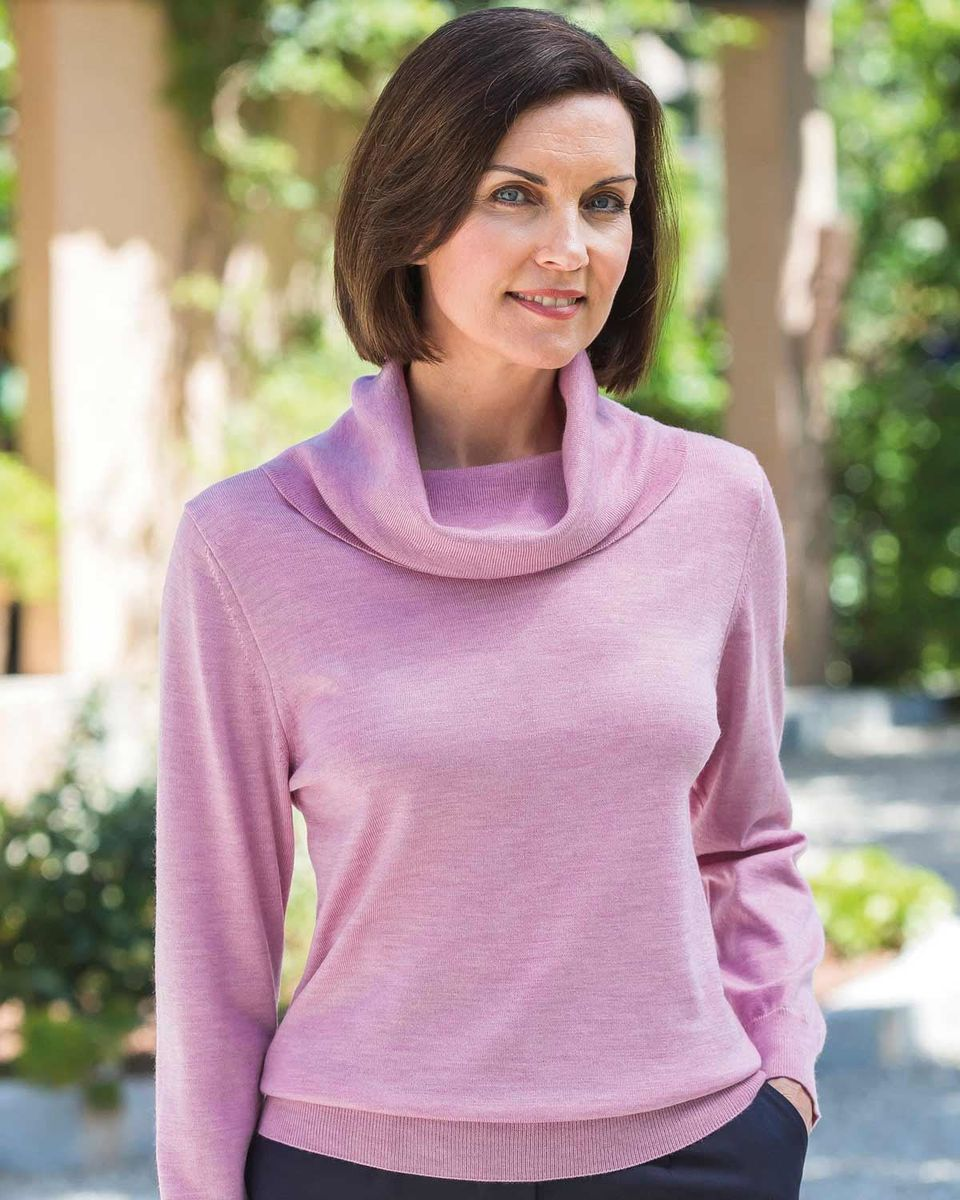 ce0244fb32c Ladies Cowl Neck Merino Wool Knitted Sweater. in 4 Colours