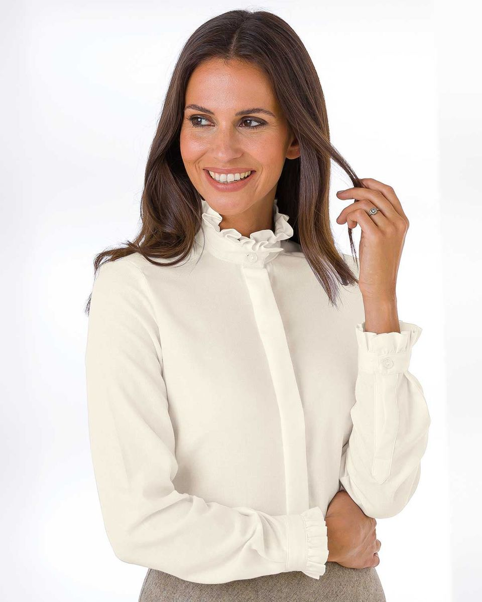 high quality guarantee new high quality coupon codes Ruffle Wool Mix Cream Blouse
