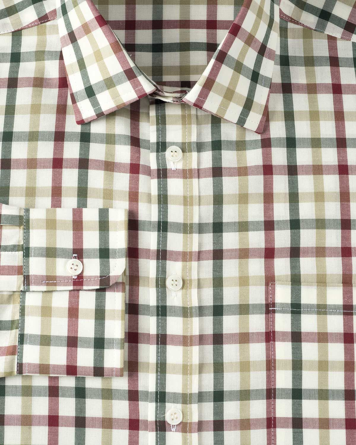 Men 39 s casual cotton long sleeve shirt machine washable for Red and green checked shirt