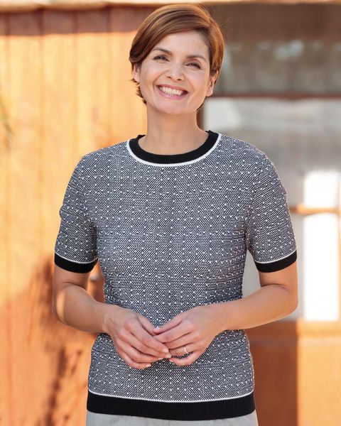Claudia Wool Mix Short Sleeve Sweater