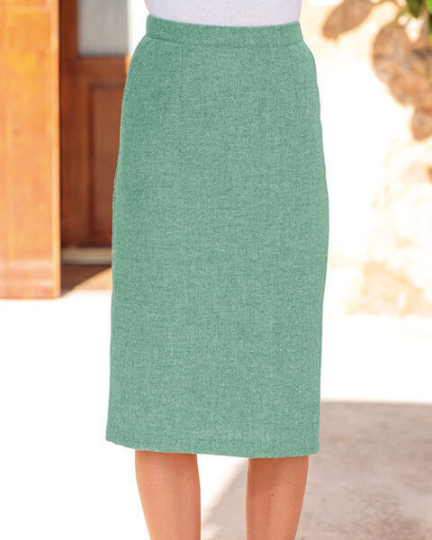 Corsica Apple Green Pure Shetland Wool Straight Skirt