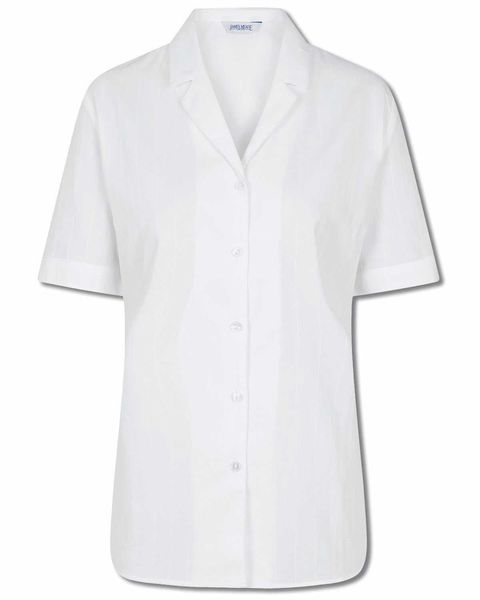 Hilary Pure Cotton White Rever Blouse