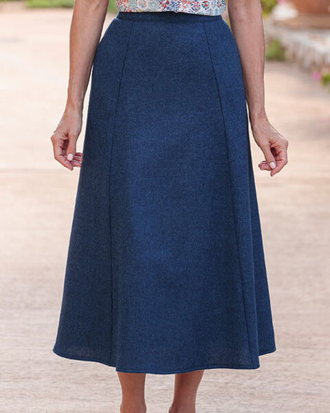 Tuscany Midnight Blue Pure Wool Tweed Skirt