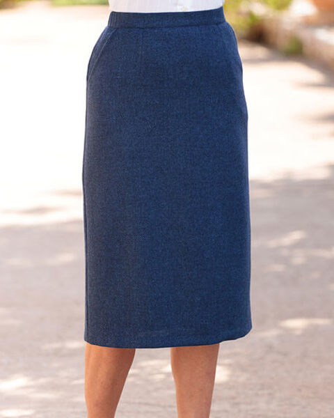 Tuscany Midnight Blue Pure Wool Tweed Straight Skirt