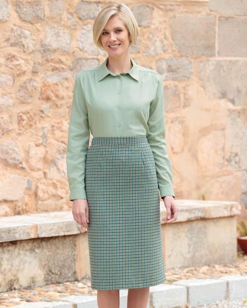 Hexham Checked Wool Blend Straight Skirt