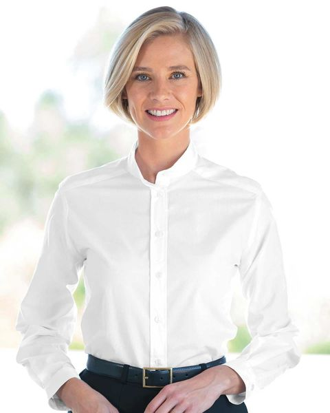 Mandarin Collar Polycotton Blouse