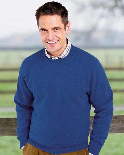 Lambswool Cobalt Blue Crew Neck Sweater