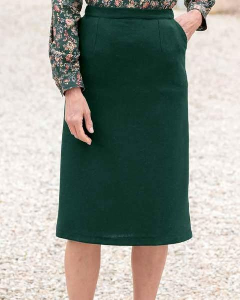 Corbridge Forest Green Pure Wool Tweed Straight Skirt