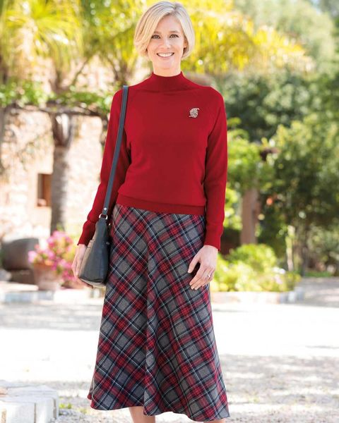 Lanercost Wool Mix Checked Skirt