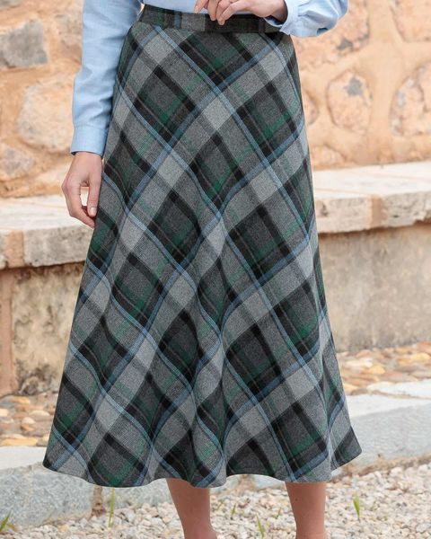 Morpeth Checked Wool Blend Skirt