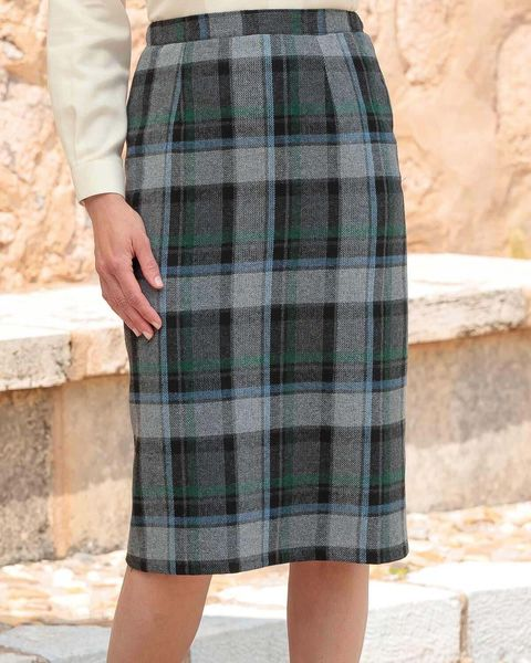 Morpeth Checked Wool Blend Straight Skirt