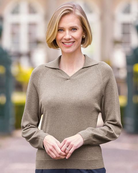 Merino Wool Collared V Neck