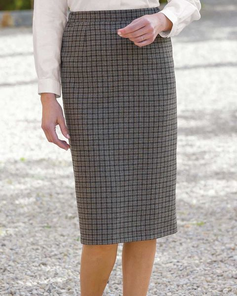 9de445a0537e Ladies Newquay Wool Mix Straight Skirt, classic check in tonal shades.