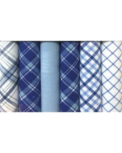 Patterned  Blue Pure Cotton Hankerchiefs