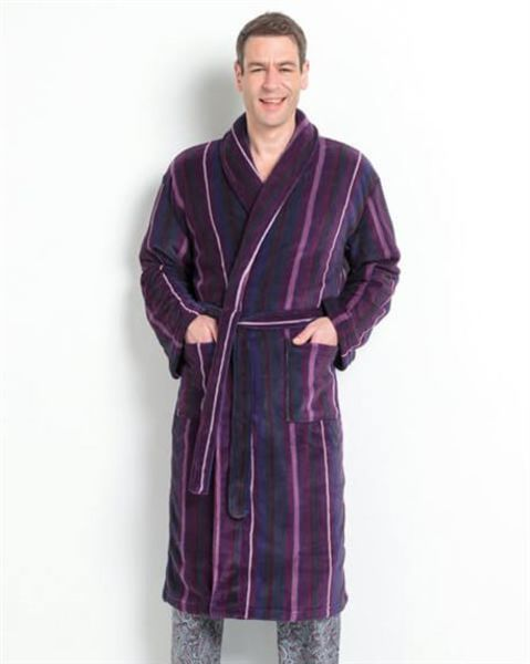 Striped Velour Dressing Gown