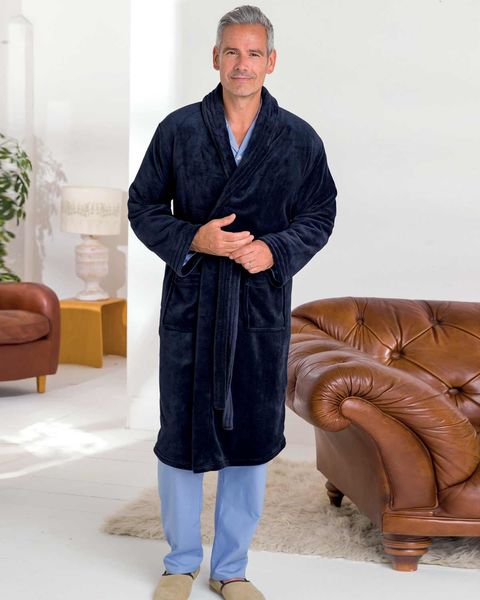 Navy Velour Dressing Gown