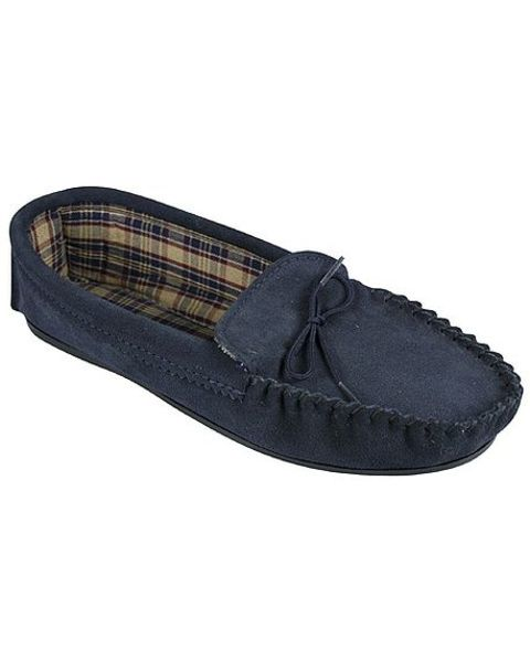 Navy Moccasin Slipper