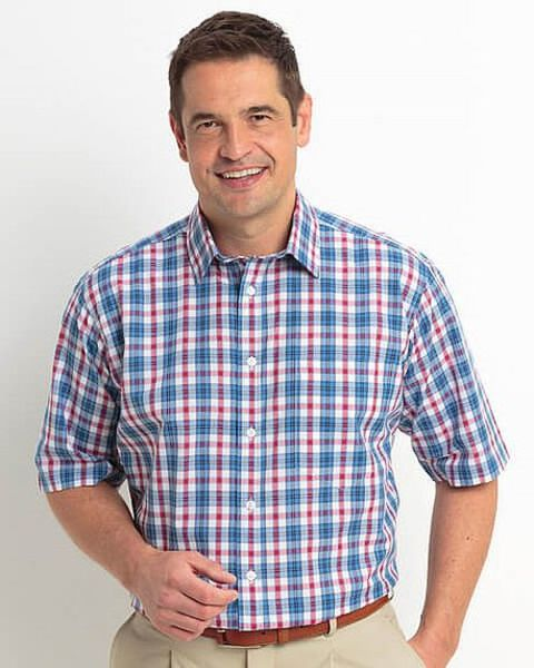 Pure Cotton Short Sleeve Blue,Red and White Check Shirt