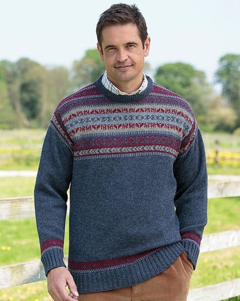 Mid Blue Crew Neck Fairisle Sweater  Mens
