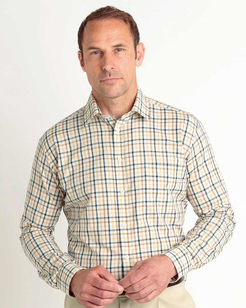 Casual Long Sleeve Blue, Brown and Cream Check Shirt
