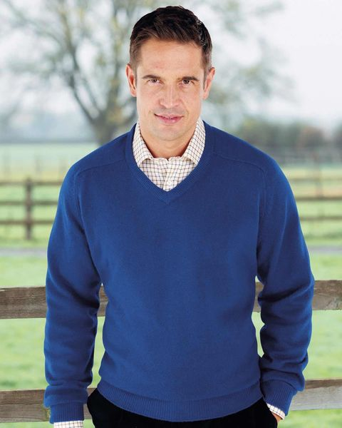 Lambswool Cobalt Blue V Neck Sweater