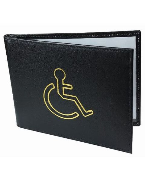 Black Leather Disabled Badge Holder
