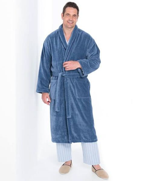 Blue Velour Cotton Dressing Gown