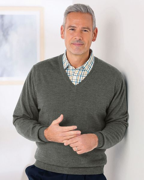Merino V neck Sweater  Mens