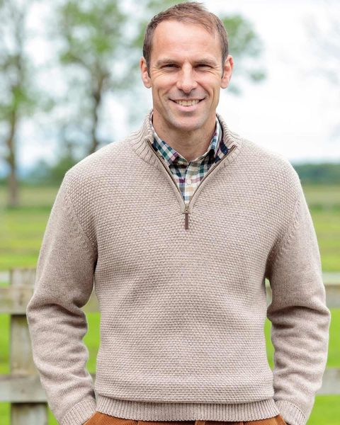 Cotton/Merino Natural Zip Neck Sweater Mens