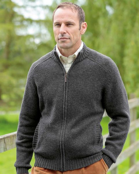 Lambswool Zip Front Cardigan - Mens