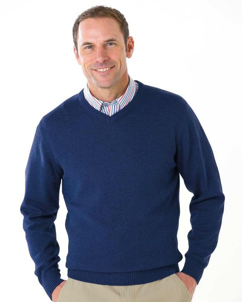 Cotton Navy V Neck Sweater