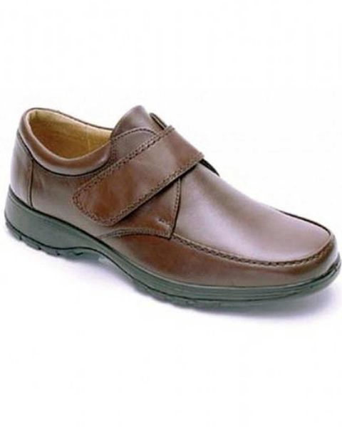 DB Wider Fit Brown Velcro Fastening Shoe