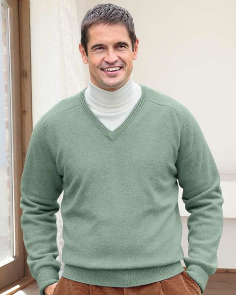 Lambswool Pale Green V Neck Sweater