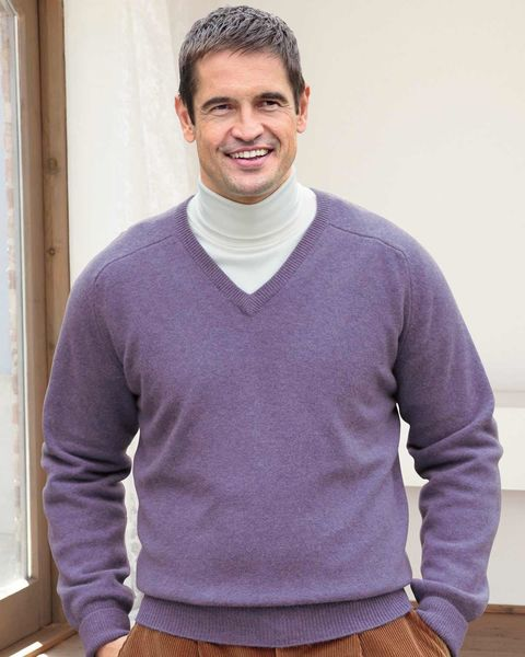 Lambswool Heather V Neck Sweater