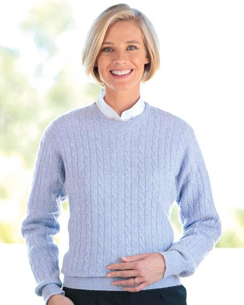 Lambswool Cable Crew Neck Sweater - Ladies
