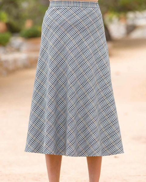Madeira Wool Blend Checked Skirt