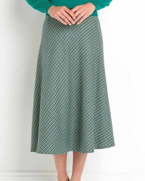 Hexham Checked Wool Blend Bias Skirt