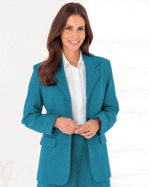 Naples Teal Pure Shetland Wool Tweed Jacket