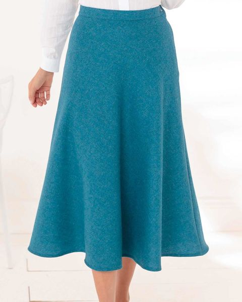 Naples Teal Pure Shetland Wool Tweed Skirt