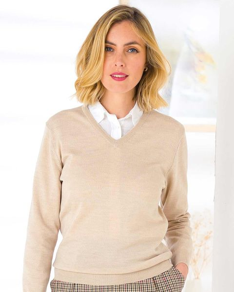 Merino V neck Sweater - Ladies