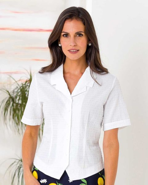 Angela White Cotton Rich Blouse