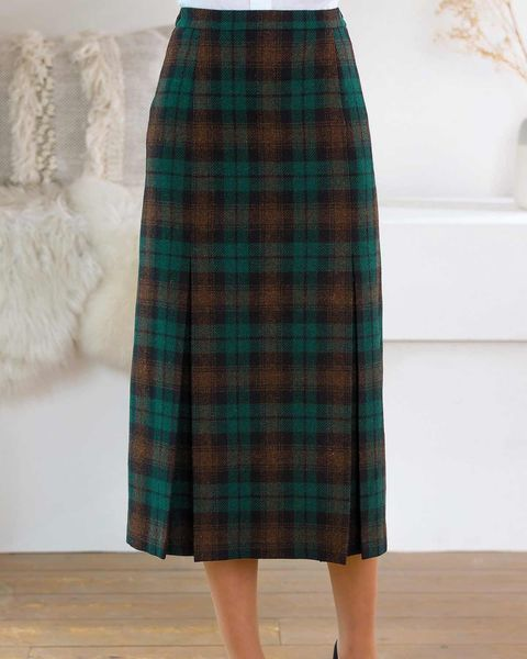 Wadebridge Wool Mix Pleated Skirt